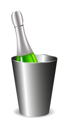 Champagne bottle (wine bottle) in metal bucket  Vector