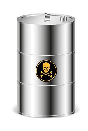 toxic barrels: Metal barrel with warning sign