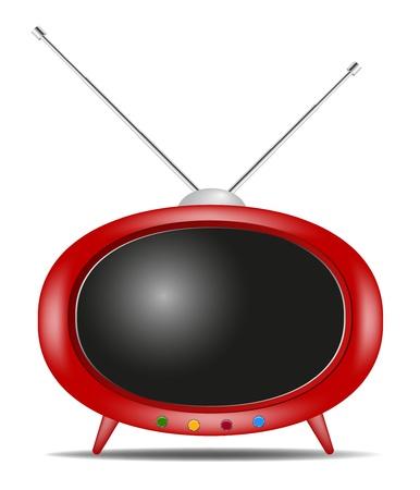 白い背景の上の影付きレトロなテレビ  イラスト・ベクター素材