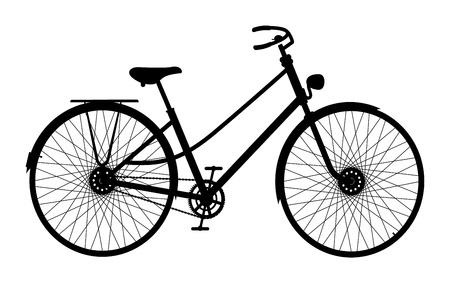 fiets: Silhouet van een oude fiets op een witte achtergrond