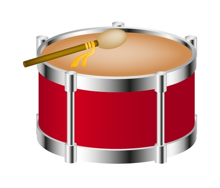 Drum instrument with drumstick Vector