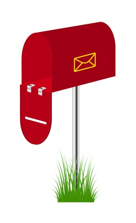 mailer: Red mailbox standing in the grass