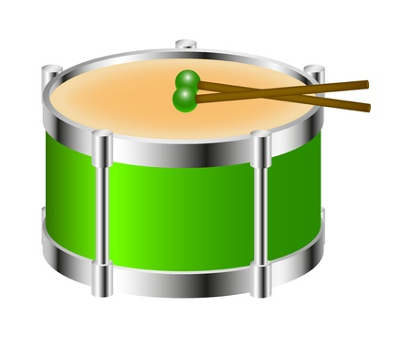 drumsticks: Drum instrument in green colour with drumsticks