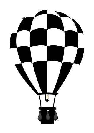 검은 색과 흰색 색상에서 뜨거운 공기 풍선