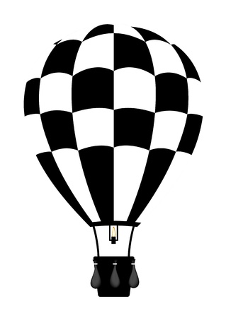 hot air: Hot air balloon in black and white colour