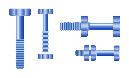 large group of objects: Set of blue bolts and nuts