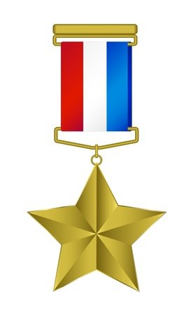Medal - gold star with tricolor ribbon Vector