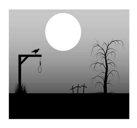 spooky graveyard: Spooky background with full moon lantern cemetery and the gallows Illustration