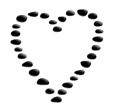 rocks and minerals: Heart shape from black stones Illustration
