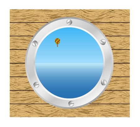 Sea and Hot air balloon in a silver ship window - porthole in a wooden wall  Vector