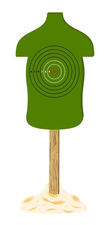 Green human target with wooden stand Vector