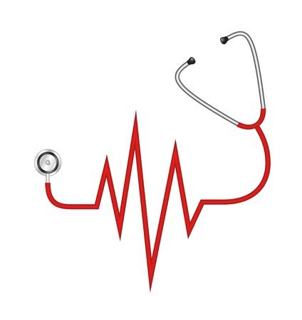 electrocardiograma: Estetoscopio en forma de l�nea de electrocardiograma Vectores