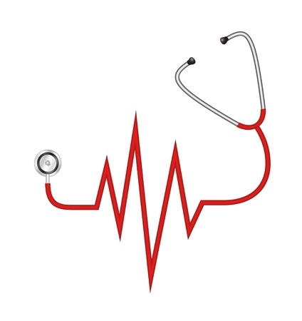 of electrocardiogram: Estetoscopio en forma de l�nea de electrocardiograma Vectores