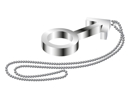 metal chain: Metal male sign with metal chain