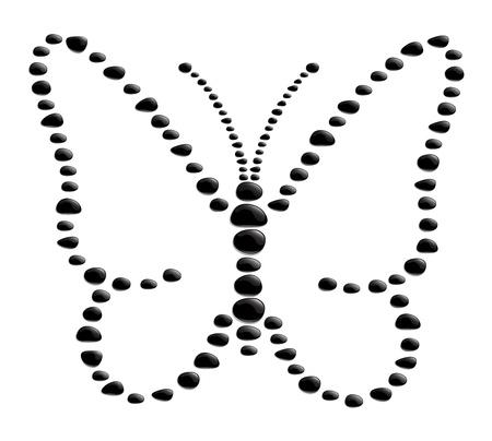 stein schwarz: Schmetterlingsform aus schwarzen Steinen
