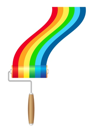 Paint roller brush with rainbow paint Stock Vector - 12011089
