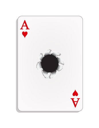Ace of heart with a bullet hole Vector