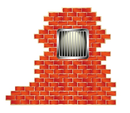 Jail window with bars on brick wall  Stock Vector - 12225888