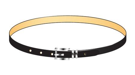 cintur�n de cuero: Negro Correa de cuero con hebilla de metal Vectores