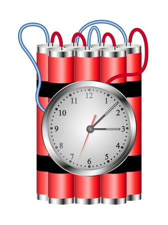 time bomb: Time bomb connected to clock explodes