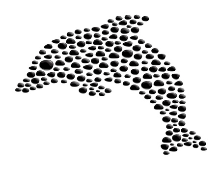 Dolphin made from black stones Vector