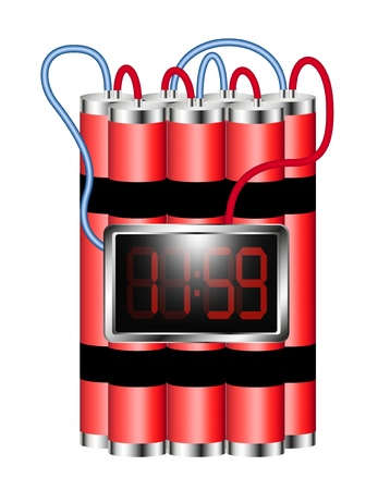 detonate: Time bomb connected to digital clock explodes Illustration