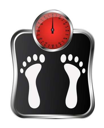 weighing: Bathroom scale with footprint Illustration