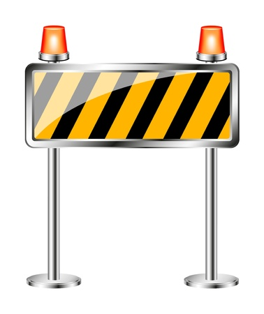 flashing: Warning sign with orange flashing siren Illustration