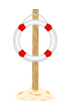 buoy: Life buoy with wooden stand Illustration