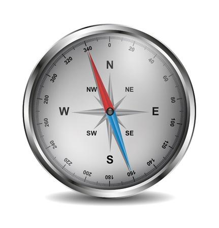 Realistic silver compass Stock Vector - 12225945