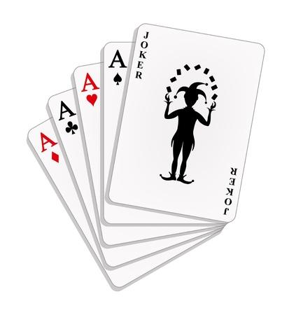 playing card symbols: Jugando a las cartas, cuatro ases y un comod�n