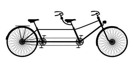 レトロなタンデム自転車  イラスト・ベクター素材