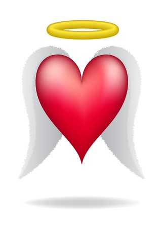 heart with wings: Heart with wings and halo