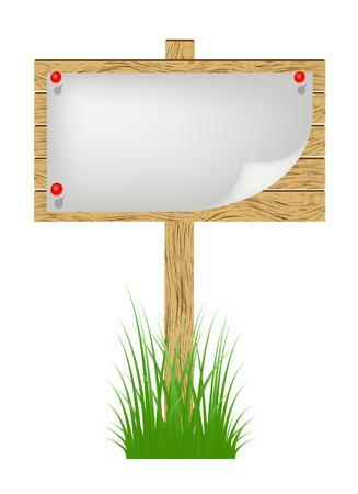 fence post: Wooden billboard with white sheet of paper standing in a grass Illustration