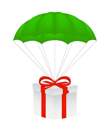 Gift box with red bow flying on green parachute Stock Vector - 12793128