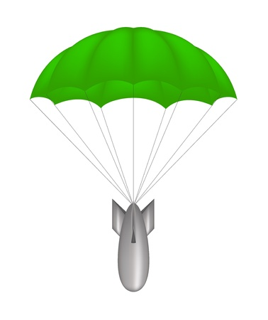 Bomb at green parachute Stock Vector - 12793127