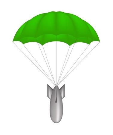 fallschirm: Bombe auf grünem Fallschirm Illustration