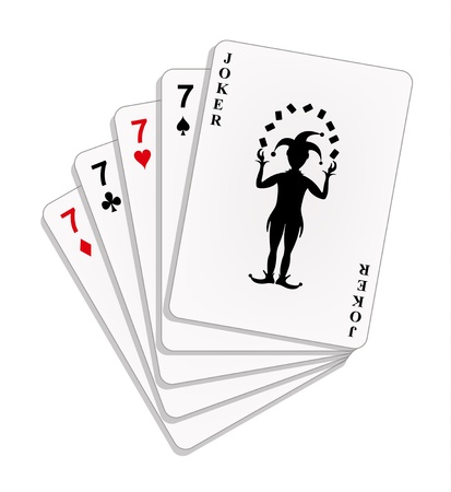 joker card: Playing cards - four sevens and a joker
