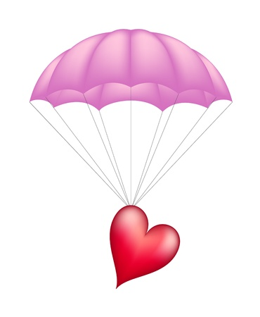 Heart at pink parachute isolated on white background  Vector