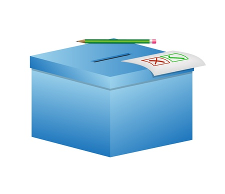 opinion poll: Election box - ballot box with pencil and a sheet of paper Illustration