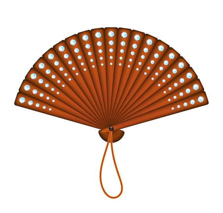 open fan: Wooden oriental fan with diamonds