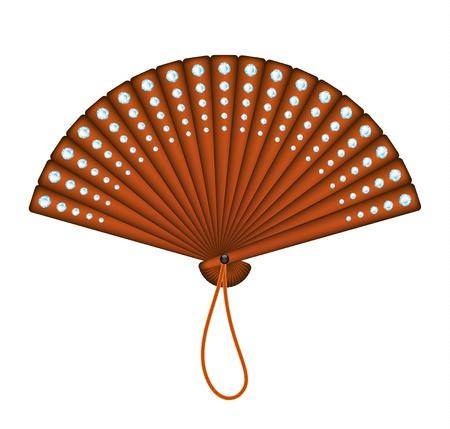 paper folding: Wooden oriental fan with diamonds