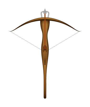 crossbow: Wooden crossbow and arrow