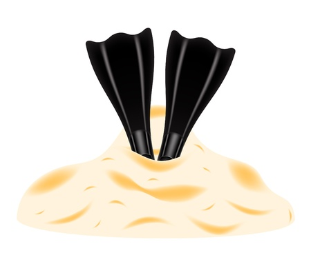 Flippers in the sand on white background Illustration