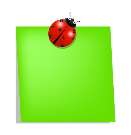 Ladybird holding green note paper  Illustration