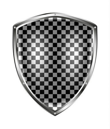 medieval shield: Metallic shield in black and white design Illustration