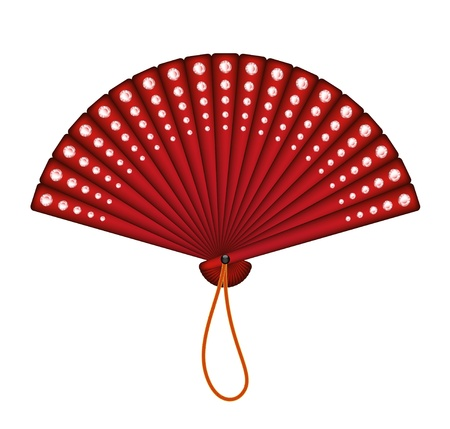 open fan: Red oriental fan with red diamonds Illustration