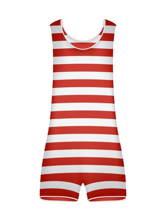 bathing man: Striped retro swimsuit