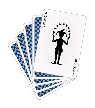 Playing cards � blue back side and joker  Stock Vector - 12793309