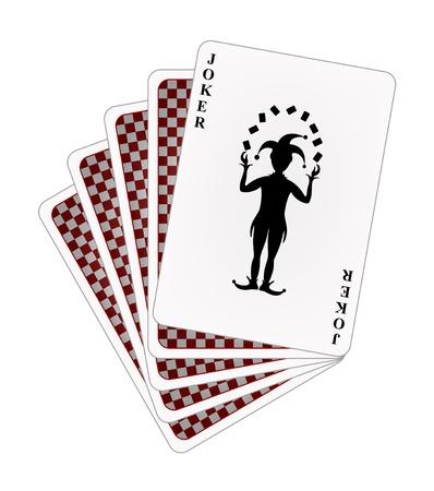 카드 놀이 - 빨간색 뒷면과 조커 일러스트